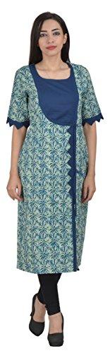 4-Stripe Collection Women's Cotton Achkan Kurta (FSC_002--M, Blue , Medium)