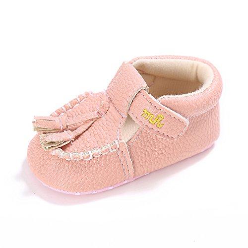 Estamico Baby Mädchen Quaste mokassins PU Sneaker Rosa 12-18 Monate (Rosa Leder-mokassins)