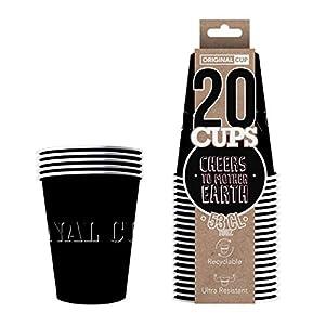 Original Cup - 20 x Vasos Américanos Papels Beer Pong 53cl - Juego para Beber - Negro