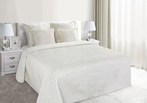 Jeté de lit couette 200 cm x 220 cm crème Lorita surpiqûre Paillette