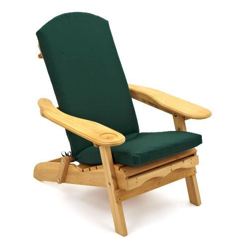 Fauteuil d'extérieur inclinable avec coussin de luxe vert foncé