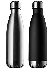 Silver & Black Pexpo (Set of 2) 1000ml Vacuum Hot & Cold Water Bottle ,304 Grade Stainless Steel Thermos- Keep Drinks Hot or Cold More Than 18hrs
