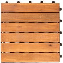 Vanage Holzfliesen 9-er Kachel Set - perfekt geeignet als Terrassenfliesen und Balkonfliesen - aus Akazienholz - Design: Classic, ca. 30 x 30 x 2,4 cm in braun