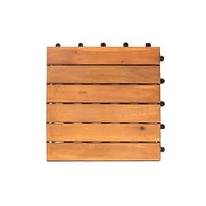 Vanage VG-9054 Set di 27 Piastrelle Classic, legno di acacia, 30 x 30 x 2,4 cm, Marrone