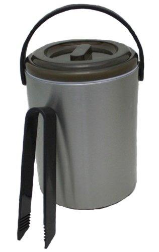 Eiseimer in Edelstahloptik 2,2 Liter mit Abtropfgitter und Eiswürfelzange