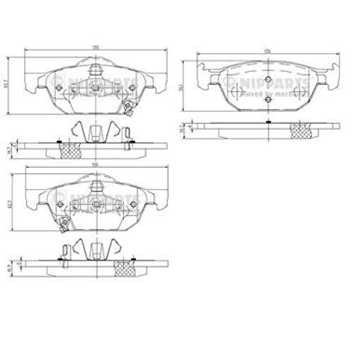 Nipparts N3604067 Pastiglie per Freni per Applicazioni Asian