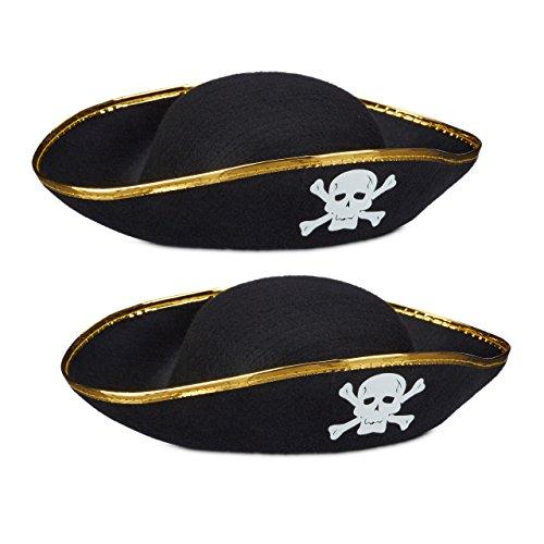 2x Piratenhut schwarz im Set, Dreispitz, mit Totenkopf, Kopfbedeckung für Fasching oder Karneval, Einheitsgröße, black