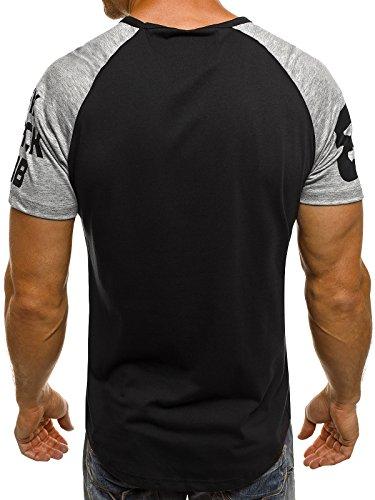 OZONEE Herren T-Shirt mit Motiv Kurzarm Rundhals Figurbetont J.STYLE SS157 Schwarz