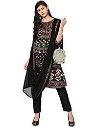 Ziyaa Women's Black Color A-Line Digital Print Kurta (ZIKUPS2473)
