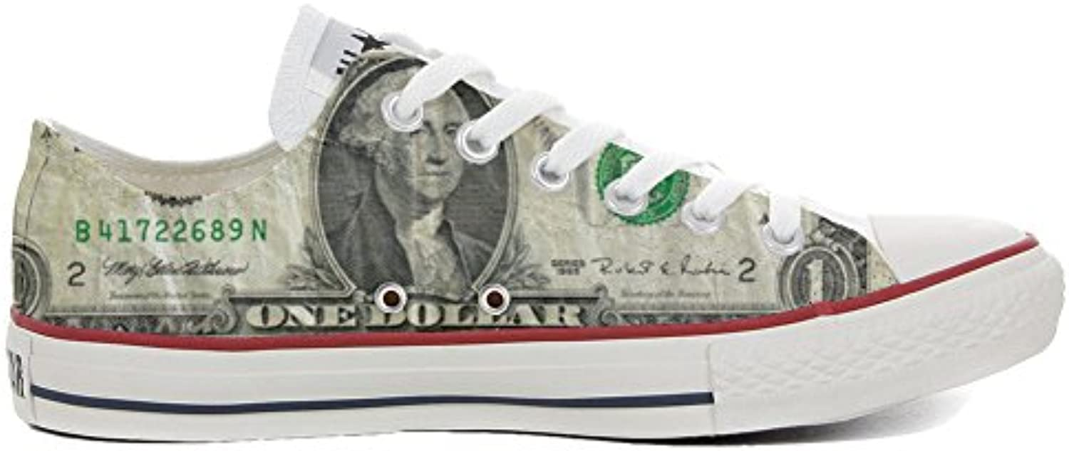 mys Converse All Star Low Customized Unisex Personalisierte Schuhe (Handwerk Schuhe) Slim Dollaro Style TG32