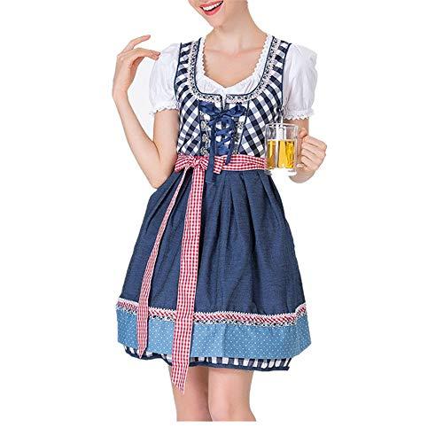 Lazzboy Karneval Kostüm Frauen Bandage Schürze Bayerische Oktoberfest Bardame Dirndl Kleid(M,Blau) (Kleinkind Mädchen Sailor Kostüm)