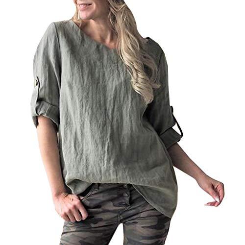 TUDUZ Oberteil Damen Große Größen Tops O-Neck Einfarbig Baumwolle und Leinen Blusen mit Taste Langarmshirts 4 Farbe S-5XL - Paisley Print Western Shirt
