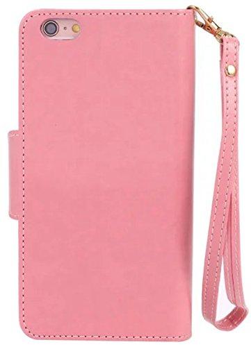 Nnopbeclik Coque Iphone 7 Plus Apple [New] Mode Fine Folio Wallet/Portefeuille en Bonne Qualité PU Cuir Housse pour Iphone 7 Plus Coque Cuir (5.5 Pouce) [Antichoc] élégant Fille Style de Gaufrage Moti pink
