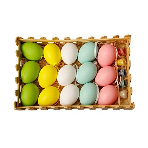 Ostereier 15 Sets DIY Bemalte Eier Kinderspielzeug Mit Stift Und Pigment, Plastik Ostern Dekoration