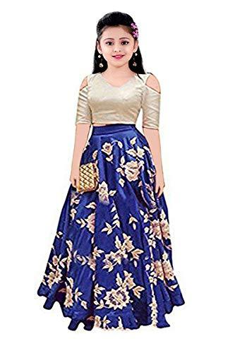 Nilkanth Fashion Girl\'s Tapeta Lengha Choli (NF_KLC_003_Blue_8-12 year)
