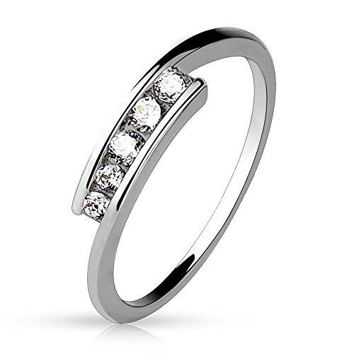 Bungsa 57 (18.1) Frauenring Zirkonia Stein Kristallring Silber 49 52 54 57 60 (Ring Damen Brass Rhodium Fingerring Partnerringe Verlobungsringe Trauringe Damenring)