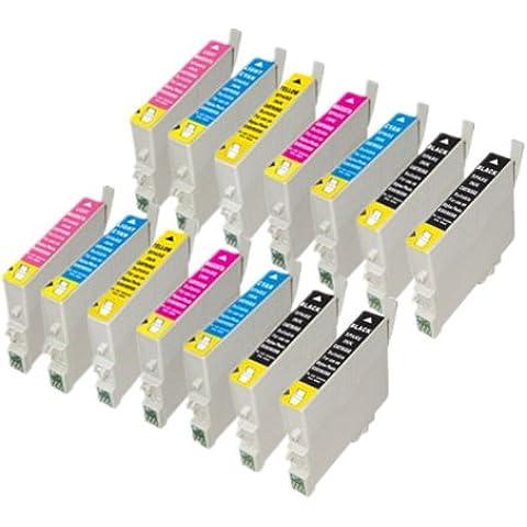 14 cartuchos de tinta compatibles para Epson Stylus Photo R200 R220 R300 R320 R340 RX500 RX600 RX620 RX640, 4x T0481, 2x T0482, 2x T0483, 2x T0484, 2x T0485, 2x