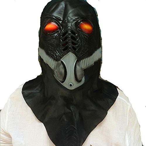 Rwdacfs Masken für Erwachsene,Horror Alien Latex Sauerstoffmaske Maske Anti-Virus schwarzen Geist Perücke