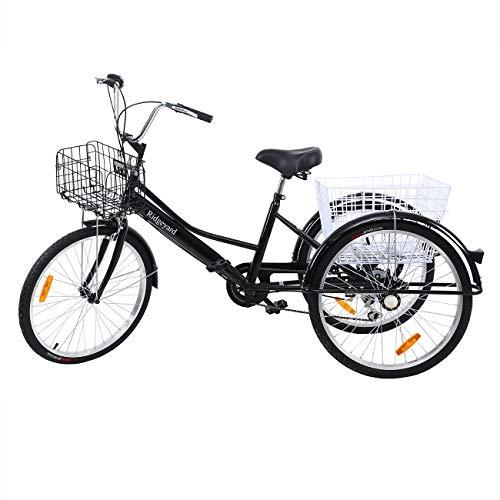 Yonntech Triciclo para Adultos 24' 7 velocidades Bicicleta para Adultos Bicicleta 3 Ruedas Bicicleta Ciudad Bicicleta Mujer con Cesta (Negro)