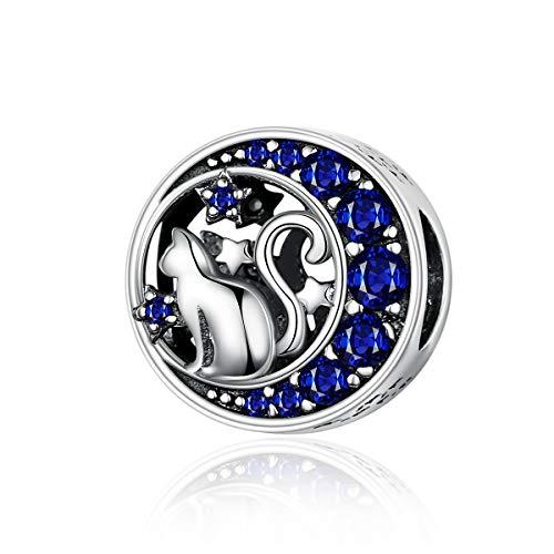 Reiko Luna Gato Plata De Ley 925 Dijes Beads Charms para Collares Pulseras