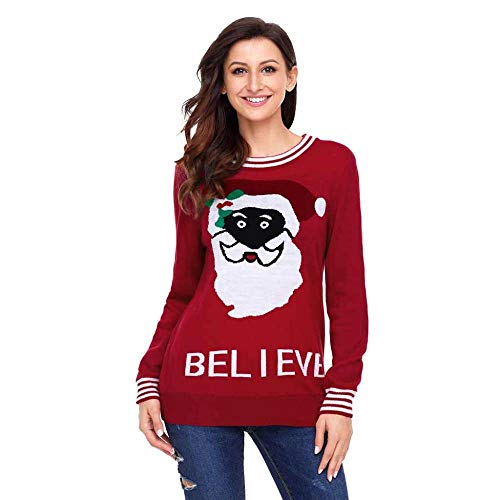 mas Santa Pullover in Rot Weihnachten Runde Hals Lange Ärmel Weihnachtsmann schreiben Print Pullover Pullover lässig Pullover ()