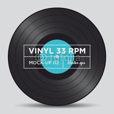 Alu-Dibond-Bild 100 x 100 cm: 'Vinyl record 33 RPM mock up', Bild auf Alu-Dibond