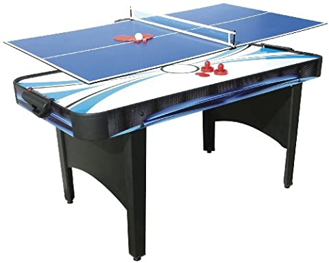 Mightymast Typhoon 2 in 1 Air Hockey and Table Tennis Table - Black, 5.5 Feet