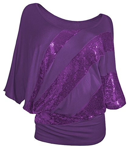 SMITHROAD Damen T-Shirt mit Pailletten Aufdruck Fledermaus Shrit Top Kurzarm dehnbar Rundhalsausschnitt Loose Fit Lila