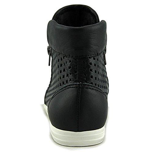 All Black Hi-Top Perf Femmes Cuir Baskets Black