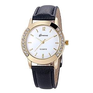 Geneva Mode Damen Herren Diamant Uhren Freizeit Analoge Leder Quarz Armbanduhr Taschenuhr Groveerble