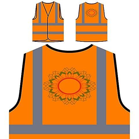 Mandala Circle Personalized Hi Visibility Orange Safety Jacket Vest Waistcoat n339vo