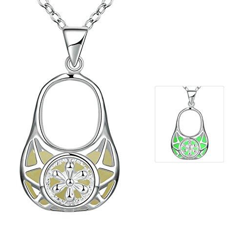 Aooaz Damen/Herren Kette Edelstahl Leuchtendes Cyane Handtasche Dosen Kunststoff Form Halskette Mit Leuchtendnachtleuchtende Schmuck (Zierliche Handtasche)
