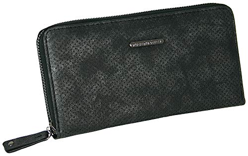 Jennifer Jones Große Schmale Damen Geldbörse Clutch-Portemonnaie mit umlaufendem Reißverschluss viel Stauraum Kartenfächer Münzfach Fotofach -