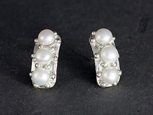 Damen-Ohrstecker Perlen Silber-Ohrringe außergewöhnlicher Schmuck