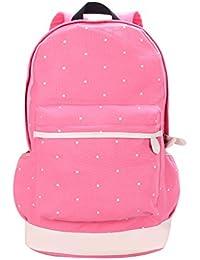 Magideal Dot Casual Canvas Backpack Bag Lightweight Bookbag for Teen Young Girls Pink