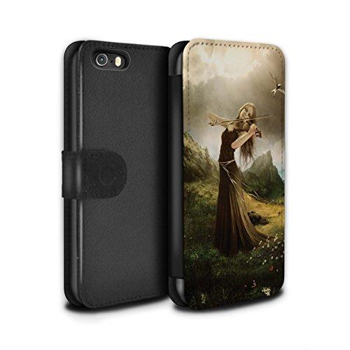 Officiel Elena Dudina Coque/Etui/Housse Cuir PU Case/Cover pour Apple iPhone SE / Mélodie du Silence Design / Réconfort Musique Collection Chanson de Fleurs