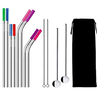 Aibesser Stainless Steel Straws Set with Spoon for Drinking (12 PCS)