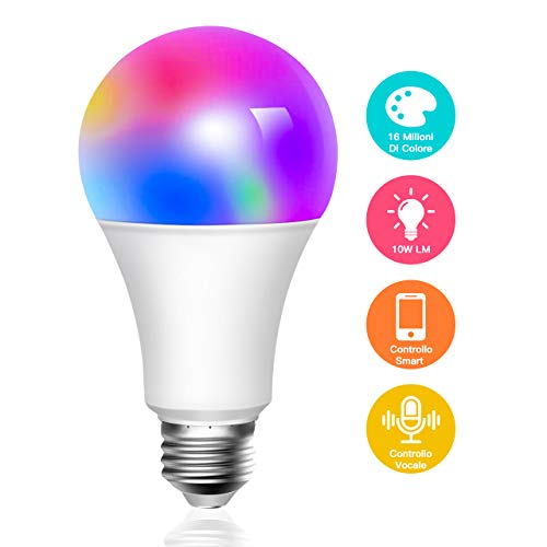 Lampadina Smart 10W 6500k+RGBW, ATSUI E27 WiFi 10W 900LM Lampadina LED Multicolore Compatibile Con Cellulari, Google Home e IFTTT (non richiede HUB)
