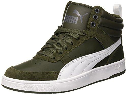 Puma rebound street v2, sneaker a collo alto unisex – adulto, grigio (forest night white-iron gate 09), 45 eu