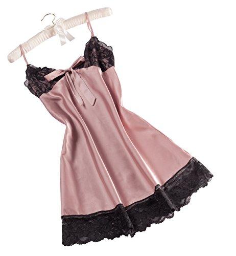 Vivente Vivo - Camicia da notte da donna, effetto raso Rosa tramonto