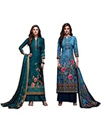 767dcfcdf9 RIWAAYAT TRENDS Women's Modal satin silk digital printed unstitched salwar  suit dress material with hand work
