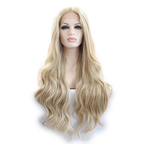 SHKY blond/weiß gemischt Farbe lose Welle synthetische Spitze Front Perücke blonde Körper Welle Hitze resistente Faser Haare für Frau , 22 inches