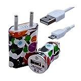 Seluxion - Chargeur maison + allume cigare USB + câble data CV12 pour BlackBerry : 8220 Pearl Flip / 8520 Curve / 8900 Curve / 9300 Curve 3G / 9320 Curve / / 9380 Curve / 9780 Bold / 9790 Bold / 9800 Torch / 9810 Torch / 9860 Torch /