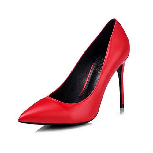 YIXINY Escarpin M-005 Chaussures Femme PU+Caoutchouc Pointu La Bouche Peu Profonde Amende Talon Mariage Occupation Chargé 8.5/10cm Talons Hauts Rouge