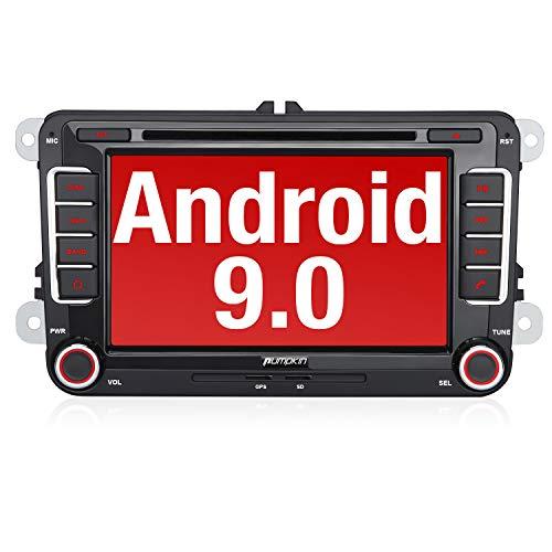 PUMPKIN Android 9.0 Autoradio für VW Radio mit Navi Unterstützt Bluetooth, DAB + CD DVD Android Auto WiFi 4G USB MicroSD 2 Din 7 Zoll Bildschirm