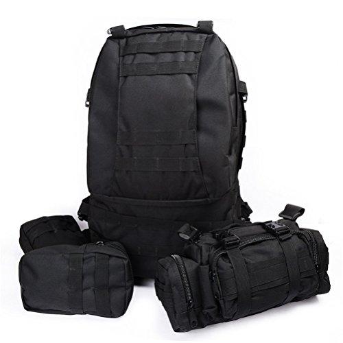 Yisidoo Abnehmbare Militaer Armee US Assault Pack 3D MolleTaktischer Rucksack Multifunktionale Trekkingrucksack fuer Reisen Aussentasche Bergsteigen Taschen Fahrradtaschen Sporttaschen(ACU Camo) Schwarz