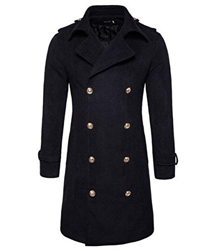 Mens Wolle Trenchcoat Zweireiher Lange Mode Business Slim Fit Wintermantel Trenchcoats DE 44 (Asian M) Schwarz