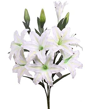 Huge Cream Lilies Stargazer Lily Artificial Flowers Amazon Co Uk Kitchen Amp Home