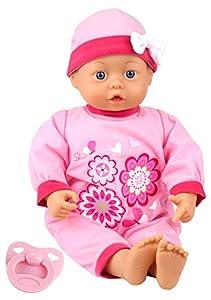 Bayer Design- Muñeca bebé 38 cm, First Words Baby, con Ojos móviles, Chupete y botellín, Color Rosa (93863AH)