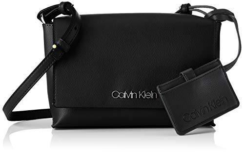 Calvin Klein Damen Tack Med Flap Crosbody Umhängetasche, Schwarz (Black), 6x22x15 cm